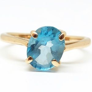 14k Yellow Gold Oval Cut Blue Topaz Gemstone Ring